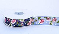 Декоративная лента из органзы полу-прозрачная, цветочки, синяя, 3 см, фото 1