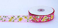 Декоративная лента из органзы полу-прозрачная, цветочки, розовая, 3 см, фото 1