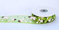 Декоративная лента из органзы полу-прозрачная, цветочки, зеленая, 3 см, фото 1
