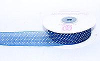 Декоративная лента из органзы полу-прозрачная, синяя в горошек, 3 см