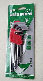 Набор имбусовых ключей,  HEX (шестигранник) средние, 1.5-10мм. 9шт.  JX
