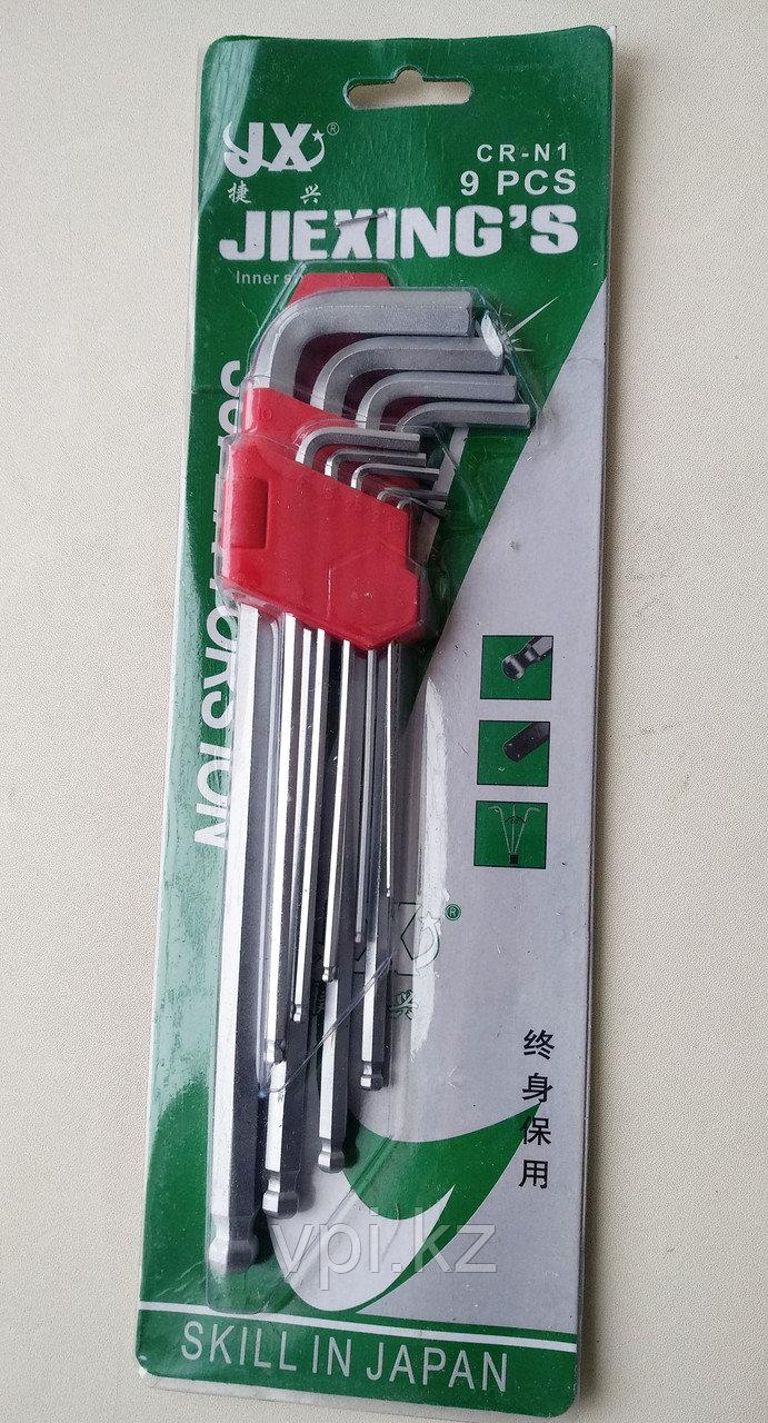 Набор имбусовых ключей,  HEX (шестигранник) длинные, 1.5-10мм. 9шт. JX