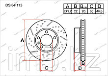 Тормозные диски Audi A4. B5 1994-2000 1.6i / 1.8i (Передние)
