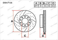 Тормозные диски Audi A1. I пок. 2010-2015 1.2i / 1.4i / 1.6i (Передние)