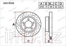 Тормозные диски Toyota Auris. E180 2012-Н.В 1.4D4-D / 2.0D4-D (Задние)