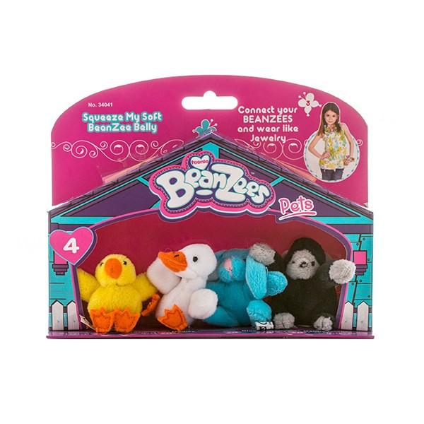 """Игрушка Beanzees мини плюш в наборе """"Цыпленок, Утенок, Кролик, Горилла"""""""