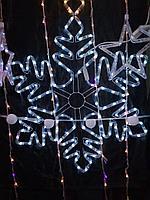 """Новогодняя светодиодная фигура """"Снежинка"""" - 80 х 80 см (дюралайт, белый свет)"""