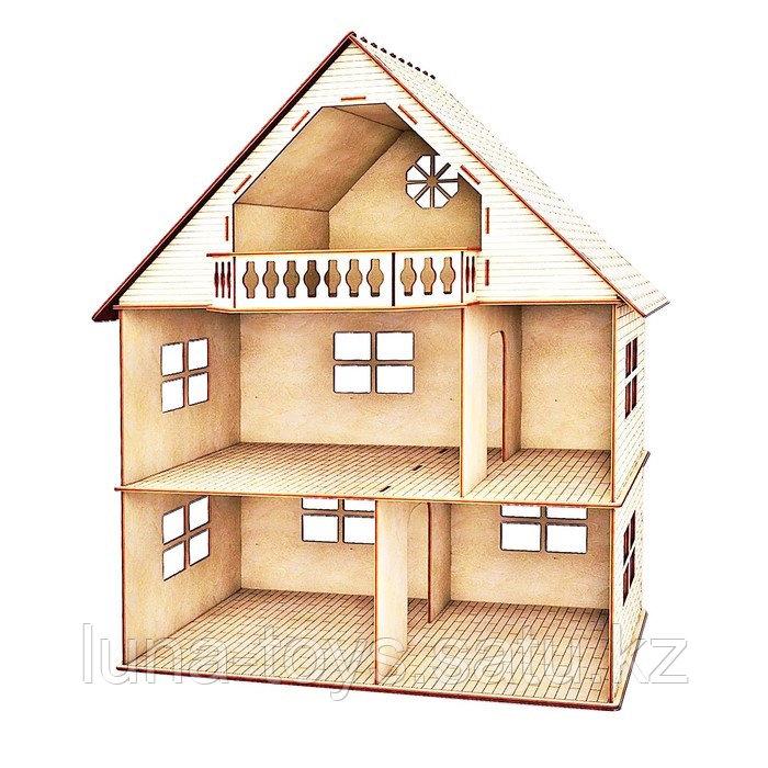 Кукольный домик с гравировкой, 2 этажа с мансардой и балконом