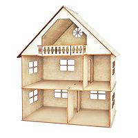 Кукольный домик, 2 этажа с мансардой и балконом