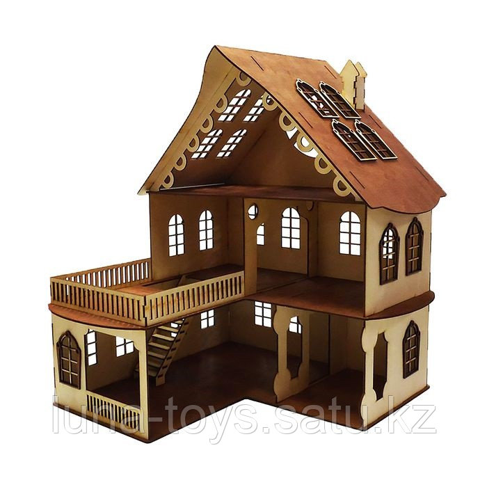 Кукольный домик, 3 этажа с балконом, без мебели, 52х45х45 см