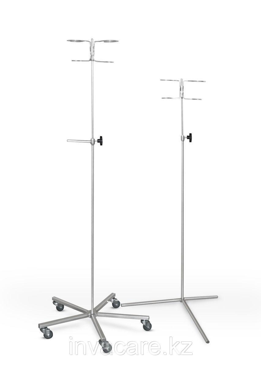 Штатив для длит инфуз. вливаний на 3 опорах ШВ2-03-«Ока-Медик» из нерж стали (телескоп., под 2 фл)
