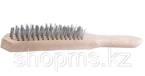 Корщетка с деревянной ручкой 4-х рядная*, фото 2