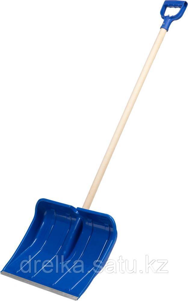 Лопата снеговая ЗУБР АЛЯСКА, ударопрочный пластик, Al кант, деревянный черенок, пластиковая рукоятка