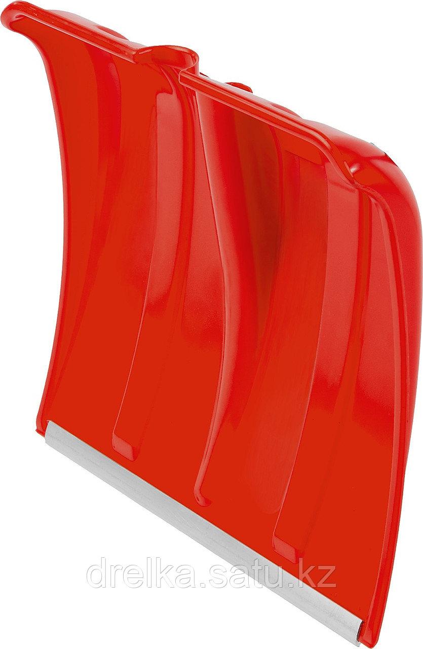Лопата снеговая пластиковая с алюминиевой планкой, без черенка, 385мм, красная, СИБИН