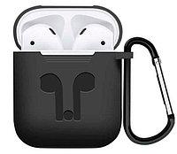 Силиконовый чехол для Apple AirPods 1/2 (с карабином, черный)