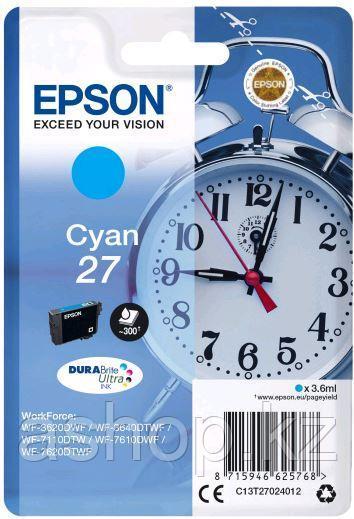 Картридж Epson C13T27024022 (№27), Объем: 3,6 мл, Копий ( ISO 19752): 300, Цвет: Голубой, Совместимость: WorkF