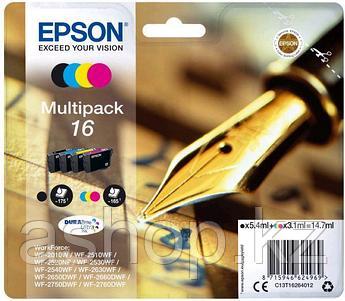 Набор картриджей Epson C13T16264012 (№16), Объем: Черный - 5,4 мл: цветной - 3,1 мл, Цвет: Чёрный, голубой, пу