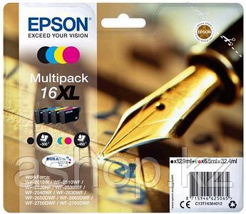 Набор картриджей Epson C13T16364012 (№16XL), Объем: Черный - 12,9 мл: цветной - 6,5 мл, Цвет: Чёрный, голубой,