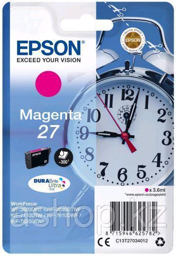 Картридж Epson C13T27034022 (№27), Объем: 3,6 мл, Копий ( ISO 19752): 300, Цвет: Пурпурный, Совместимость: Wor