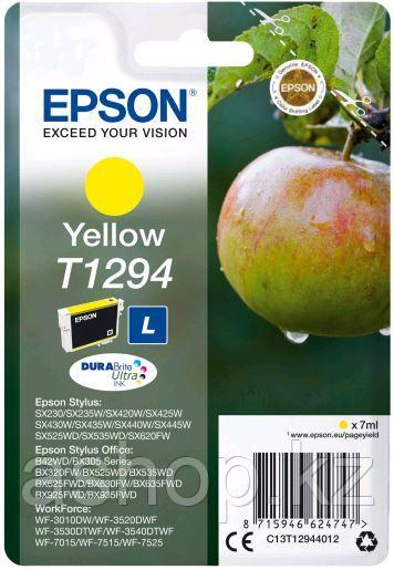 Картридж Epson C13T12944012 (№T1294L), Объем: 7 мл, Копий ( ISO 19752): 330, Цвет: Жёлтый, Совместимость: Styl