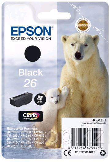 Картридж Epson C13T26014012 (№26), Объем: 6,2 мл, Цвет: Чёрный, Совместимость: XP600/605/700/800