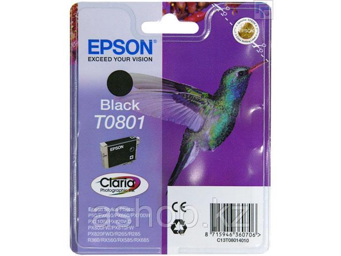 Картридж Epson C13T08014011 (№T0801), Объем: 7,4 мл, Копий ( ISO 19752): 330, Цвет: Чёрный, Совместимость: Sty
