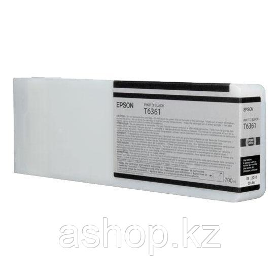 Картридж Epson C13T636100 (№T6361), Объем: 700 мл, Цвет: фото чёрный, Совместимость: Stylus Pro 7700, 7890, 79