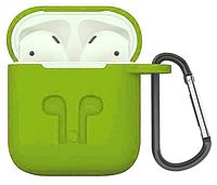 Силиконовый чехол для Apple AirPods с держателем (зеленый), фото 1