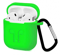 Силиконовый чехол для Apple AirPods с держателем (светло-зеленый)