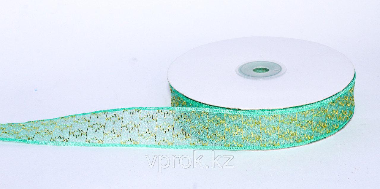 Декоративная лента из органзы полу-прозрачная с позолотой, бирюзовая, 3 см - фото 1