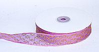 Декоративная лента из органзы полу-прозрачная с позолотой, фиолетовая, 3 см