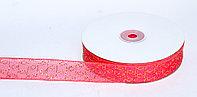 Декоративная лента из органзы полу-прозрачная с позолотой, розовая, 3 см