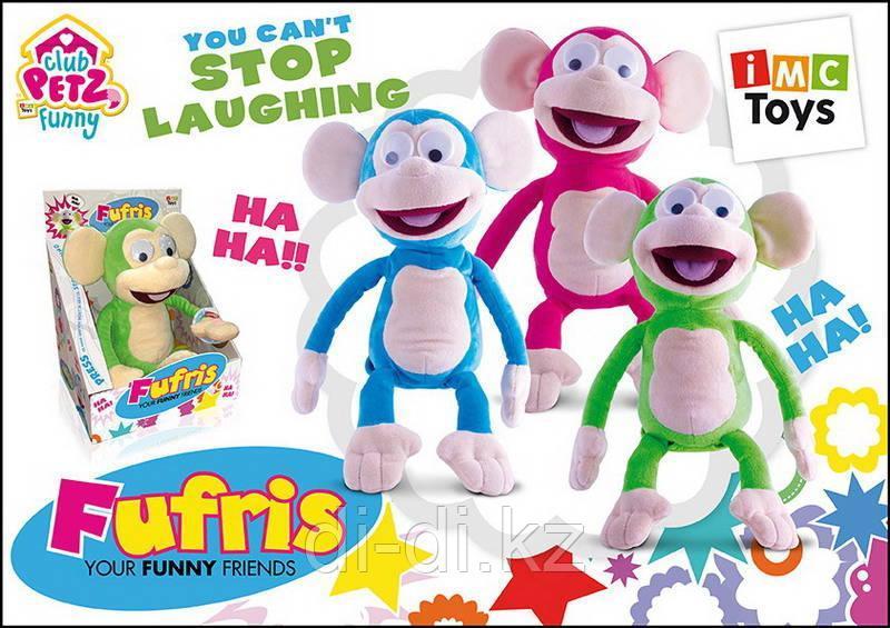 Обезьянка Fufris интерактивная, смеётся и подпрыгивает, звуковые эффекты, в ассортименте 3 цвета мягконабивная