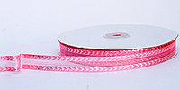 Декоративная лента для одежды прозрачная посередине, розовая, 1.5 см