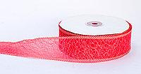 Декоративная лента паутинка, кружевная полу-прозрачная, красная, 3.5 см