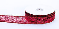 Декоративная лента паутинка, кружевная полу-прозрачная, красная, 2.5 см