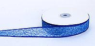Декоративная лента паутинка, кружевная полу-прозрачная, синяя, 2.5 см