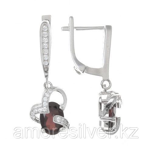 "Серьги Teosa серебро с родием, кварц дымчатый (раухтопаз) фианит, ""halo"" E-DRGR00494-SQ"