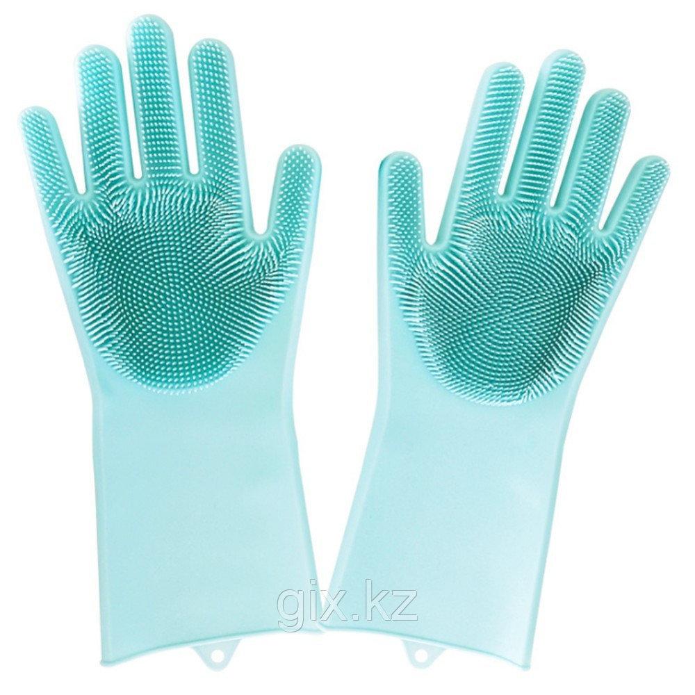 Универсальные перчатки силиконовые с чистящей щеткой для мытья посуды и уборки