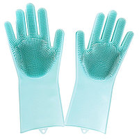 Универсальные перчатки силиконовые с чистящей щеткой для мытья посуды и уборки, фото 1