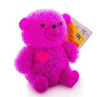Игрушка фигурка медведя с резиновым ворсом с подсветкой  в ассортименте
