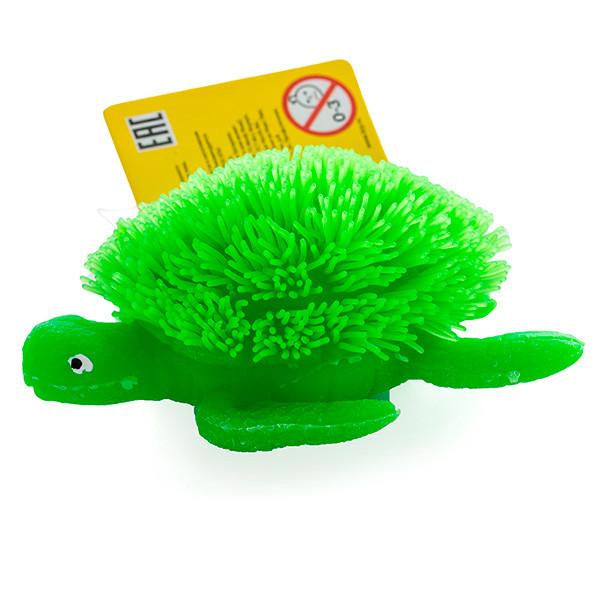 Игрушка фигурка черепахи с резиновым ворсом с подсветкой в асс.
