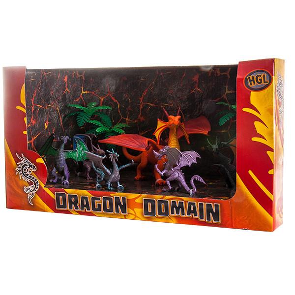 Игрушка Dragon Domain Драконы 6 шт + 2 дерева, в ассортименте