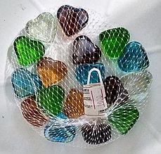 """Декоративные, стеклянные камушки, полупрозрачные, разноцветные """"Сердечки""""."""