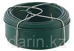 Проволока с ПВХ покрытием, зеленая 1.5 мм, длина 50 м Сибртех