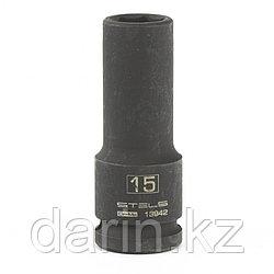 Головка ударная удлиненная шестигранная, 15 мм, 1/2, CrMo Stels