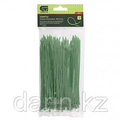 Хомуты, 150 x 2.5 мм, пластиковые, зеленые, 100 шт Сибртех