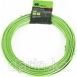 Проволока для подвязки, стальная в ПВХ (зеленый) 25 м, внутр. 1.6 мм / внеш. 3 мм Сибртех