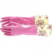 Перчатки хозяйственные латексные с манжетой, M Elfe, фото 1