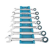 Набор ключей комбинированных с трещоткой, 8-19 мм, 7 шт, CrV Gross, фото 1